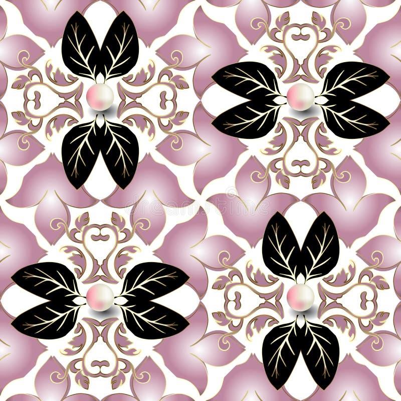 首饰3d巴洛克式的传染媒介无缝的样式 白色高雅背景 花卉重复背景 锦缎巴洛克式的装饰品 向量例证