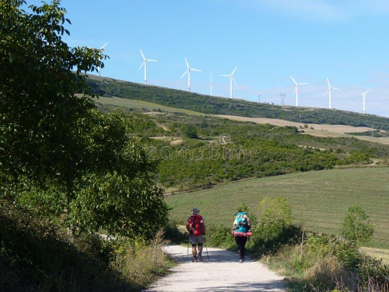 香客圣詹姆斯 走在Camino de圣地亚哥的人们 库存图片