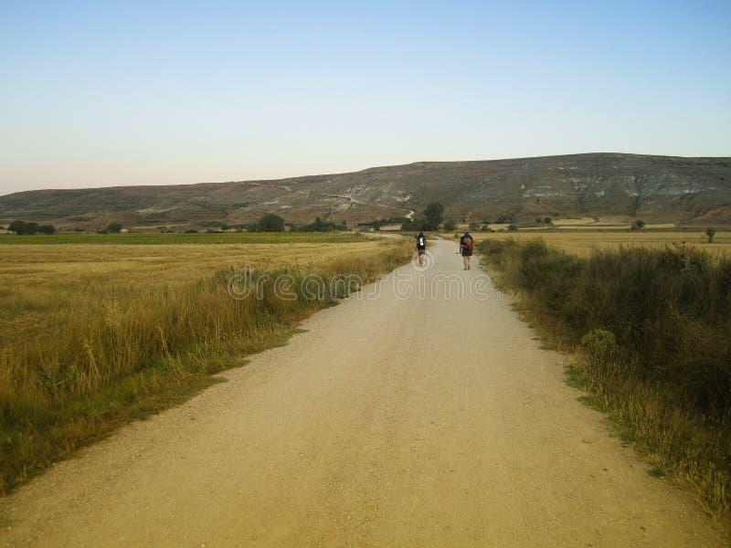香客, Camino de孔波斯特拉的圣地牙哥,西班牙 库存图片