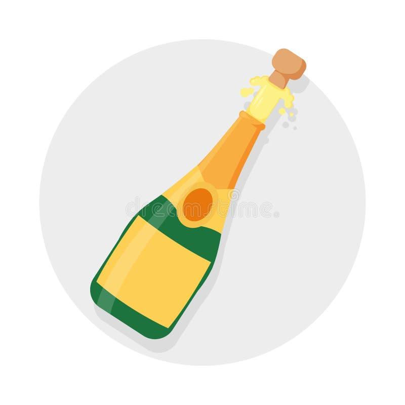 香宾瓶爆炸概念 在灰色背景隔绝的例证 打开香宾瓶,假日多士,黄柏 皇族释放例证