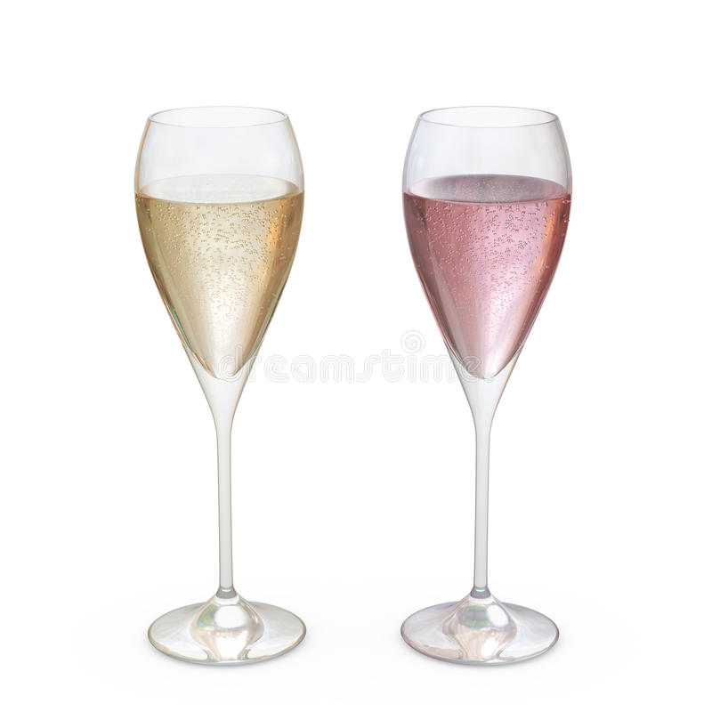 香宾郁金香玻璃设置与液体,包括的裁减路线 免版税库存照片