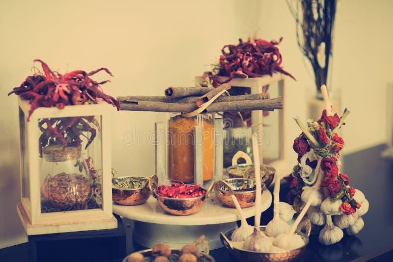 香料和大蒜构成 库存照片