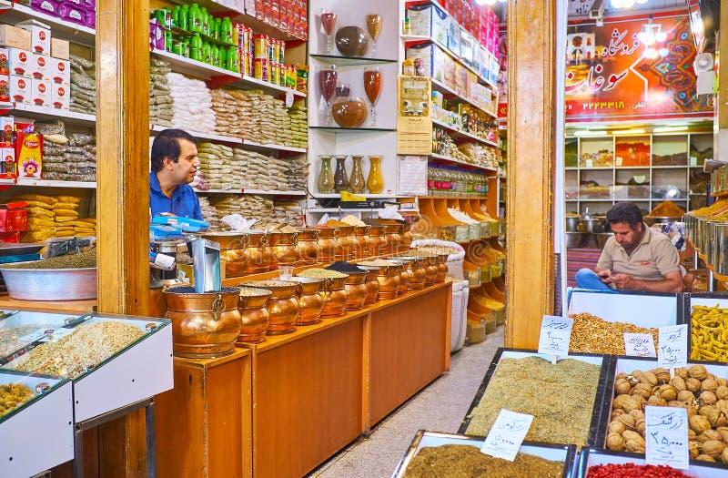 香料商店在克尔曼,伊朗 免版税库存图片
