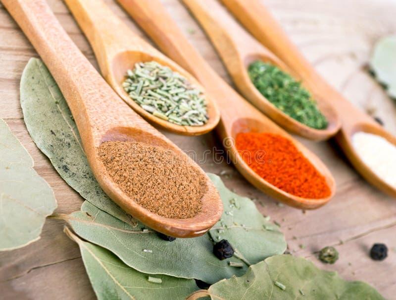 香料在木桌食品成分的食物配制 库存图片