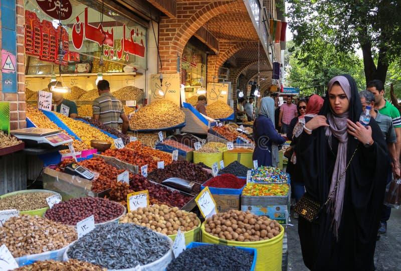 香料在盛大义卖市场,德黑兰销售 免版税库存照片