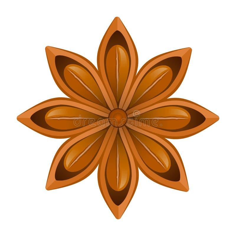 茴香星在白色背景的 也corel凹道例证向量 库存例证