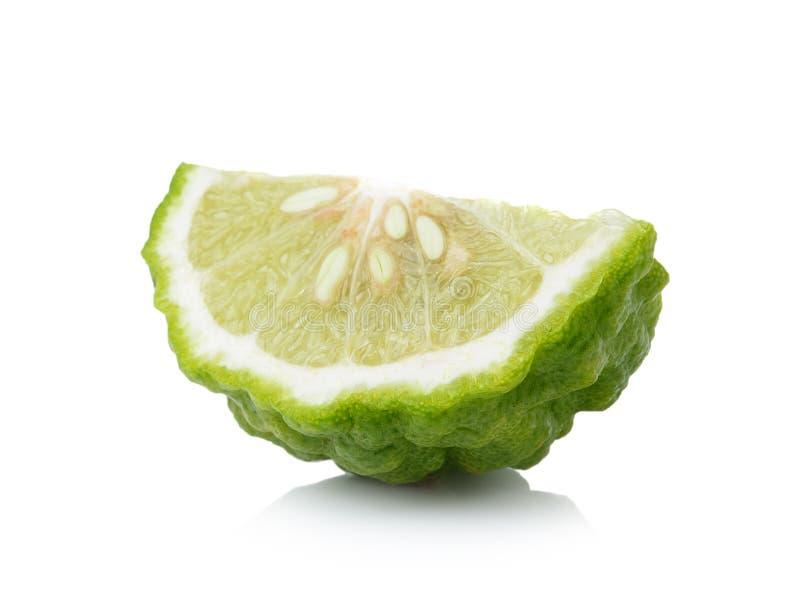 香柠檬切片白色背景 免版税库存图片