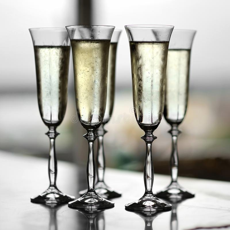 香槟五块玻璃 免版税库存图片
