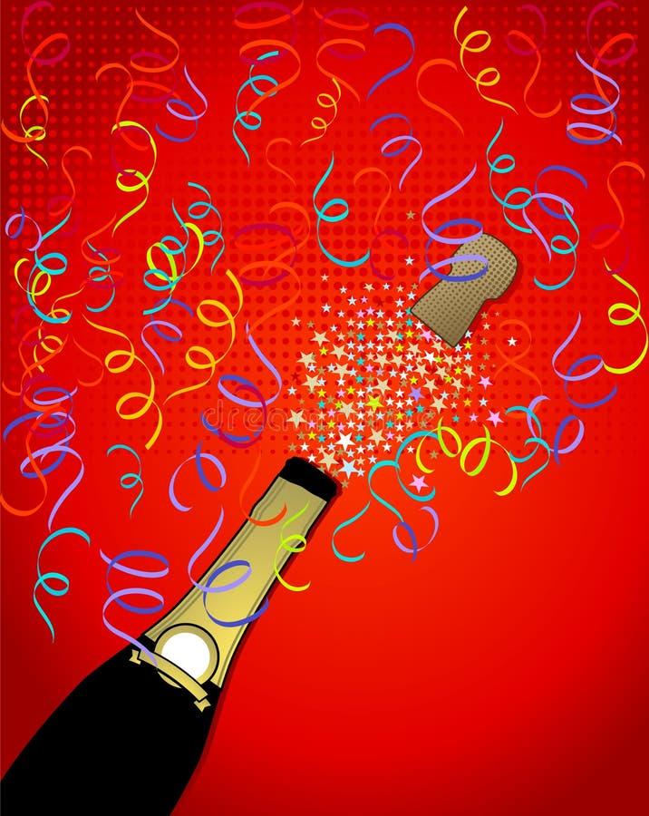 香槟五彩纸屑弹出 库存例证