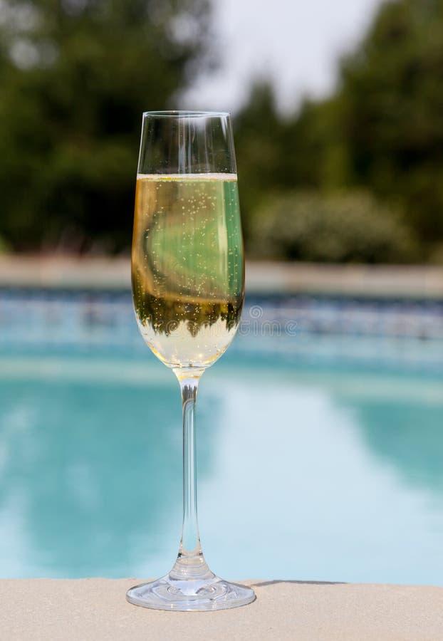 香槟冷长笛池端 免版税库存照片