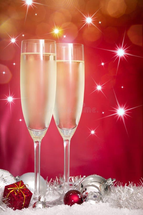 香槟圣诞节装饰玻璃 库存图片
