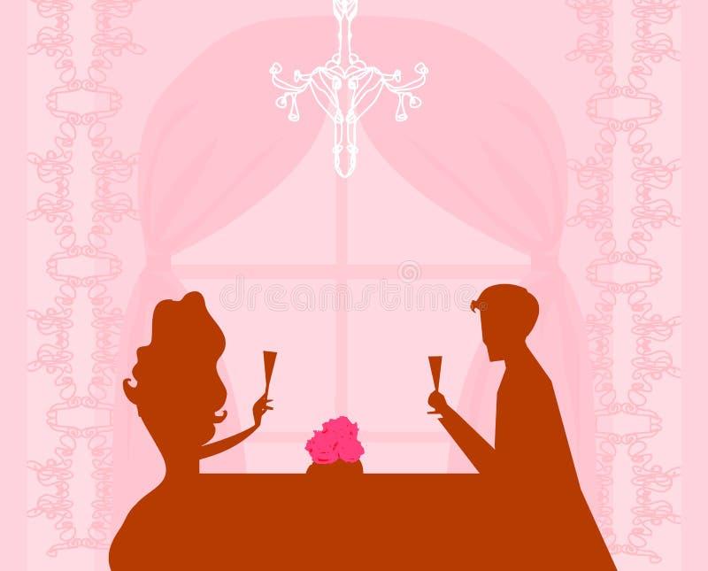 香槟夫妇喝调情的人年轻人 皇族释放例证