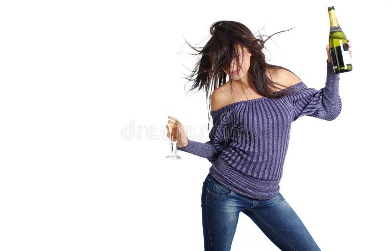 香槟女孩玻璃 库存照片