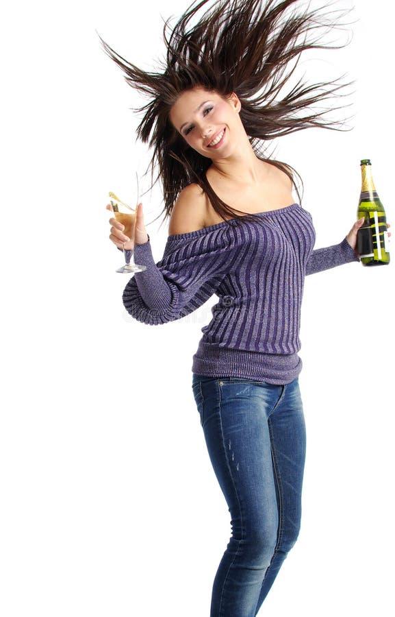 香槟女孩玻璃 免版税库存照片