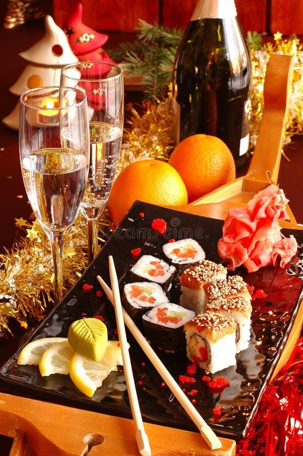 香槟寿司 库存照片