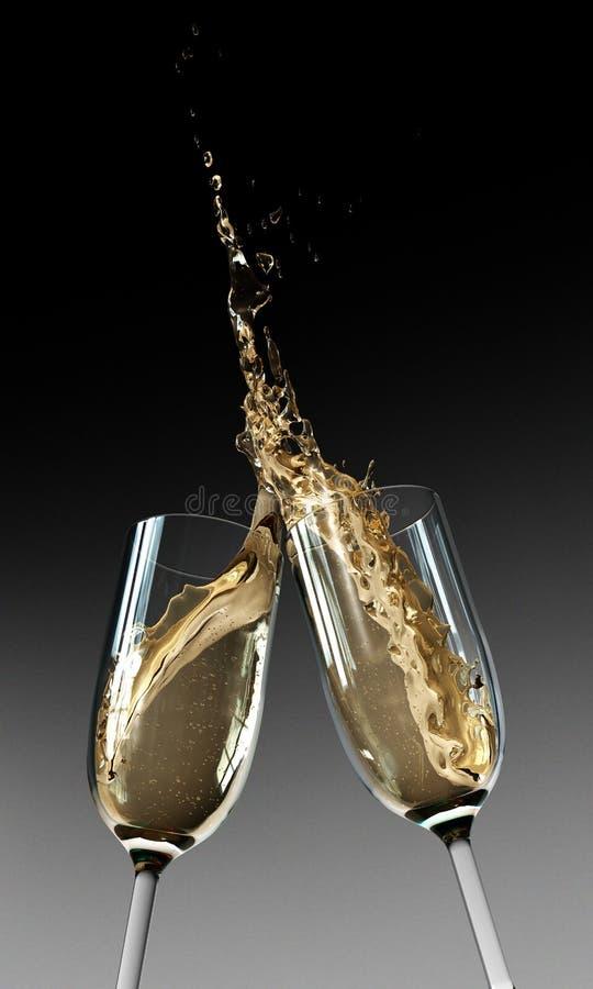 香槟槽敬酒 图库摄影