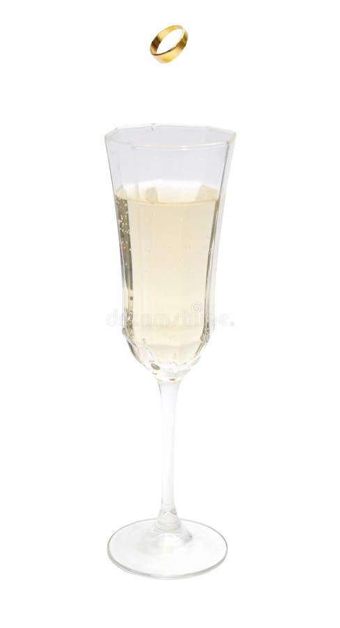 香槟环形婚礼 免版税库存图片