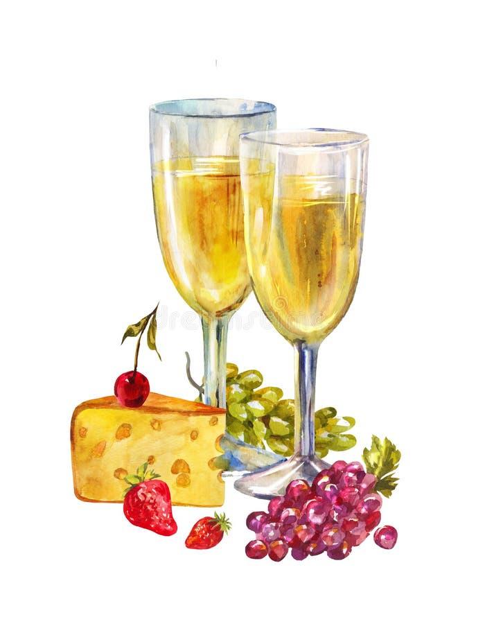 香槟玻璃二 浪漫静物画用在白色背景和白酒隔绝的果子 水彩例证为 库存图片
