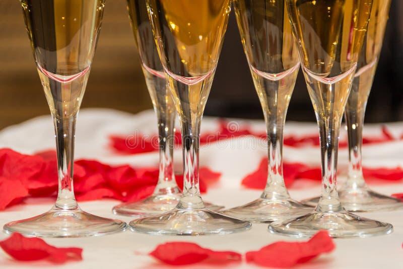 香槟玻璃和红色玫瑰花瓣美丽的特写镜头  免版税库存图片