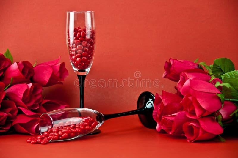 香槟玻璃玫瑰 免版税库存照片