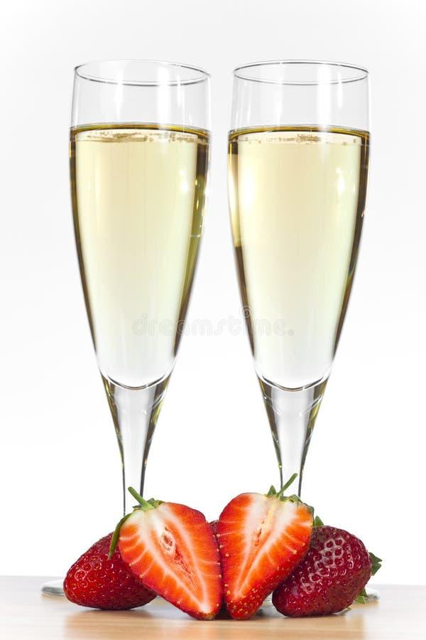香槟玻璃草莓二 库存图片