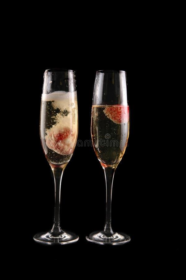 香槟玻璃草莓 免版税库存图片