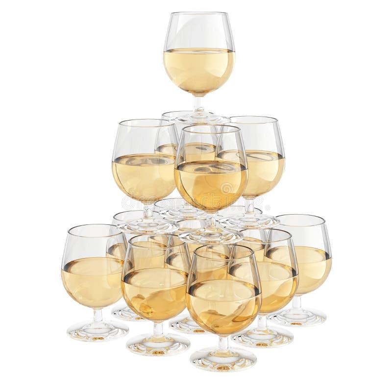 香槟玻璃金字塔 库存图片