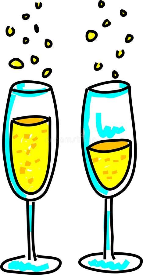香槟玻璃 向量例证