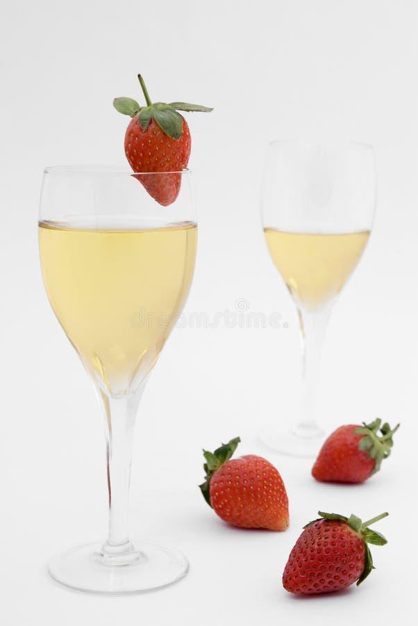 香槟草莓 图库摄影