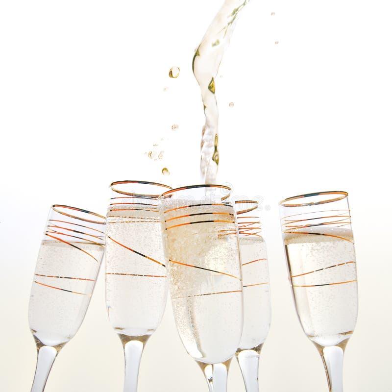 香槟银飞溅 免版税库存图片
