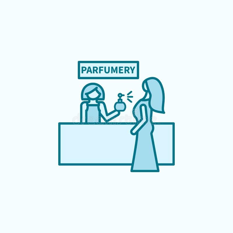 香水商店2种族分界线象 简单的色素例证 香水商店概述从购物中心集合的标志设计 向量例证