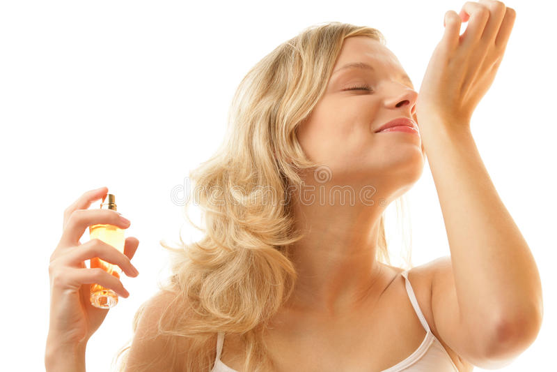 香水嗅到的妇女腕子 免版税库存照片