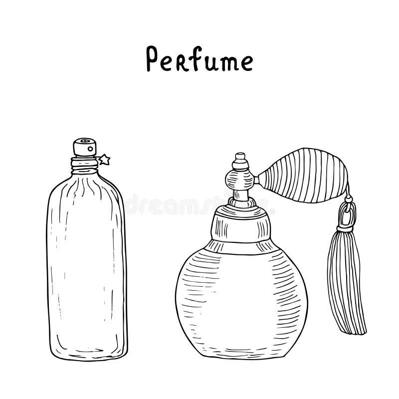 香水汇集 葡萄酒香水瓶 与缨子和未来派芬芳的香水喷子能与星 向量例证