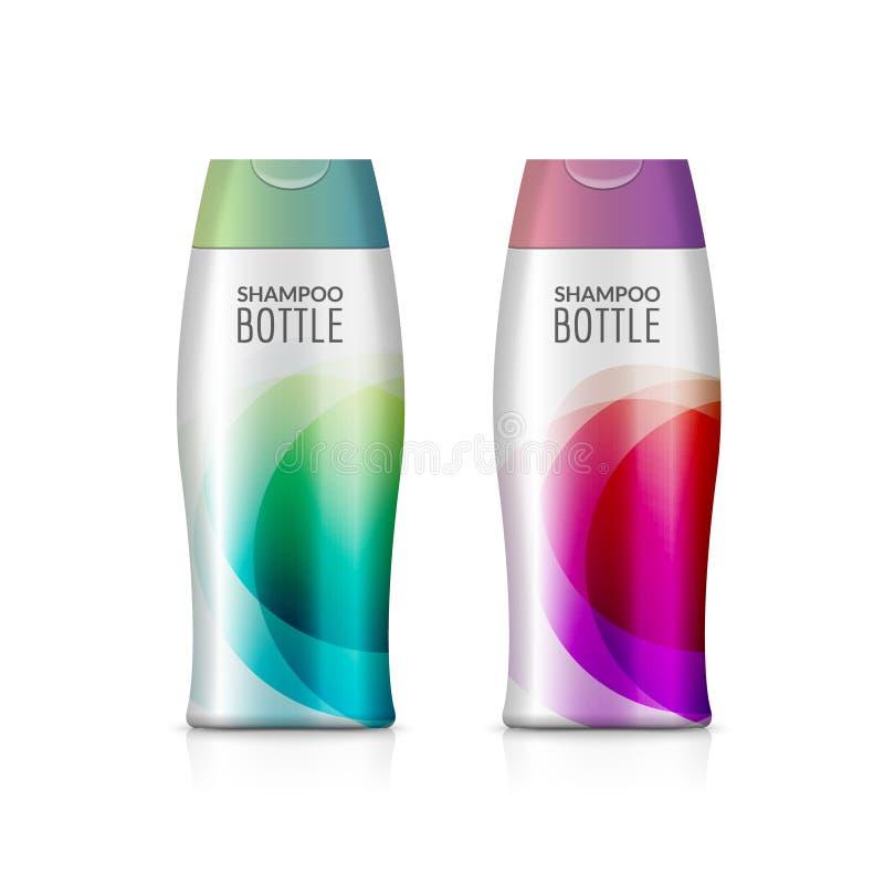 香波塑料瓶或阵雨胶凝体瓶模板设计 传染媒介空白嘲笑 奶油或化妆水浴关心 库存例证