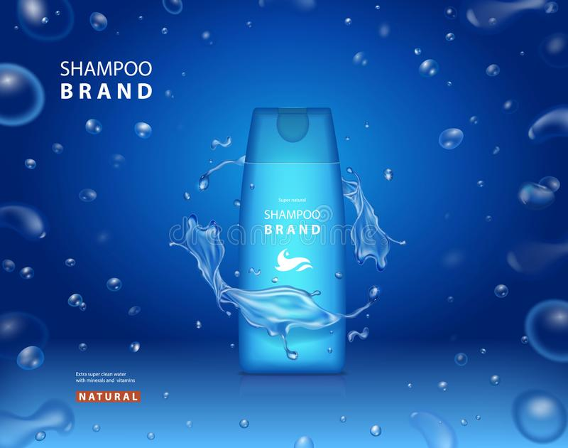 香波广告蓝色模板 设计润湿的化妆用品产品,做广告与下落和飞溅 3d向量 向量例证