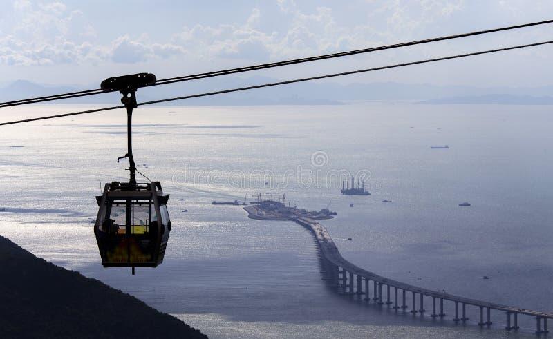 """香港†""""珠海†""""澳门桥梁HZMB和昂坪360 免版税库存图片"""