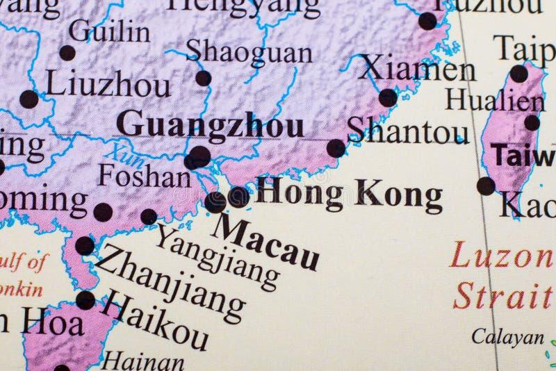 香港、广州和澳门地图  免版税图库摄影