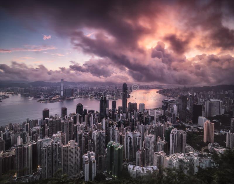 香港与风暴接近的市视图 免版税图库摄影