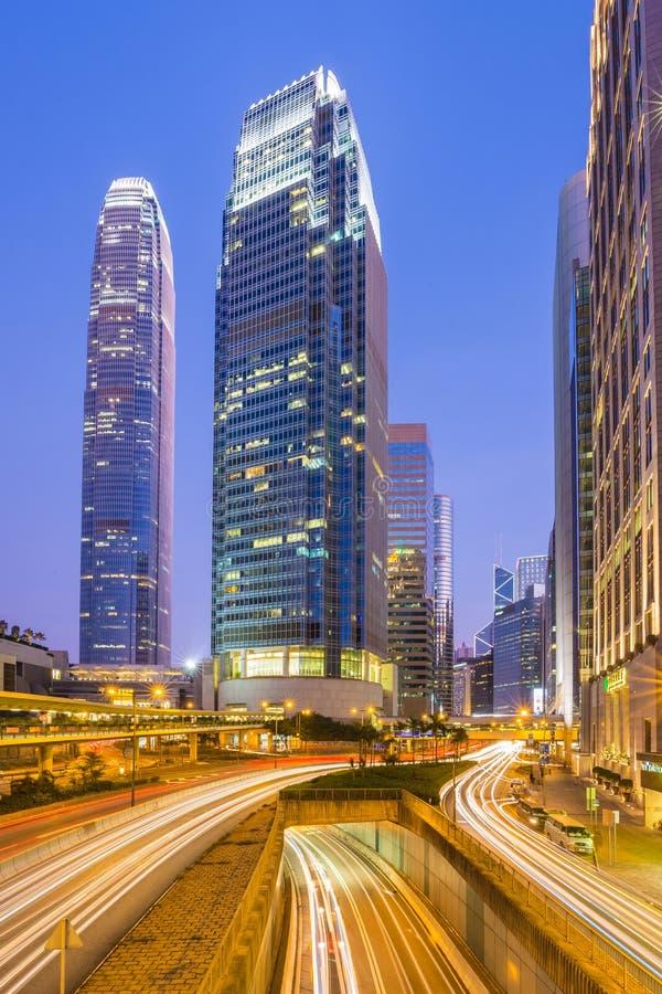 香港中区地标有IFC塔的 库存照片