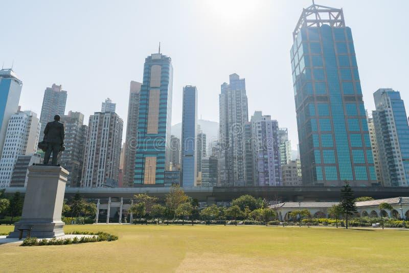 从香港中山纪念公园的都市风景在香港 免版税库存图片