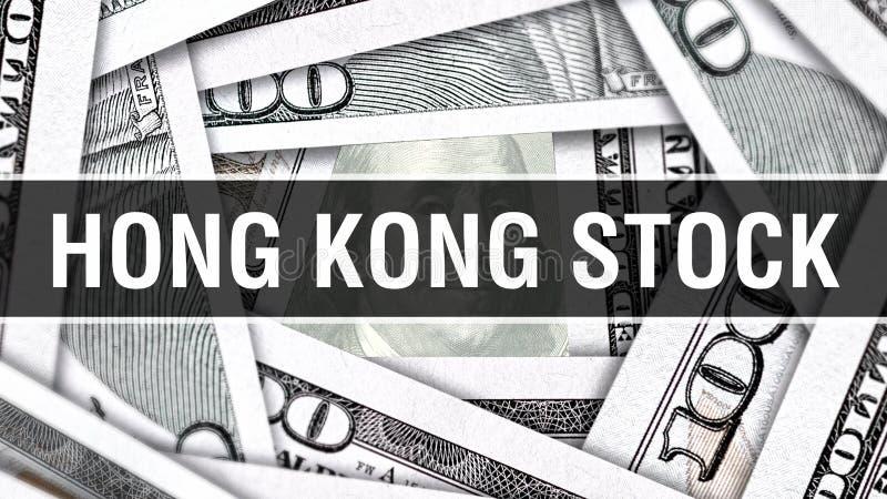 香港储蓄特写镜头概念 美国美元现金金钱, 3D翻译 香港储蓄在美元钞票 财政美国金钱 向量例证