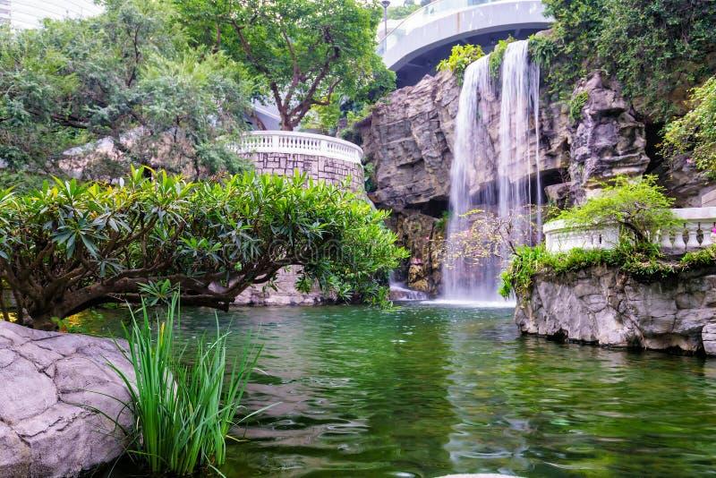 香港公园瀑布 库存图片