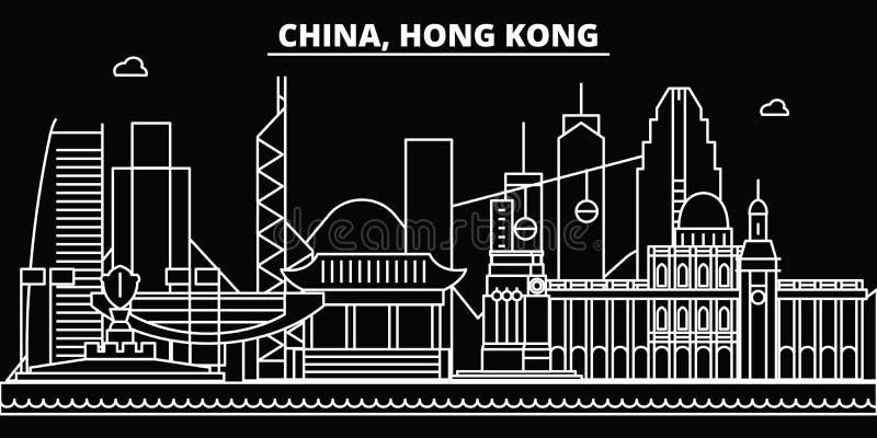 香港剪影地平线 中国-香港传染媒介城市,中国线性建筑学,大厦 香港旅行 库存例证