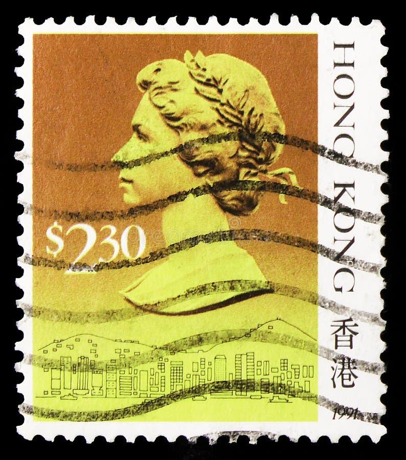 香港印出的邮票显示伊丽莎白女王二世,2岁 30港元–1991年前后港币 库存照片