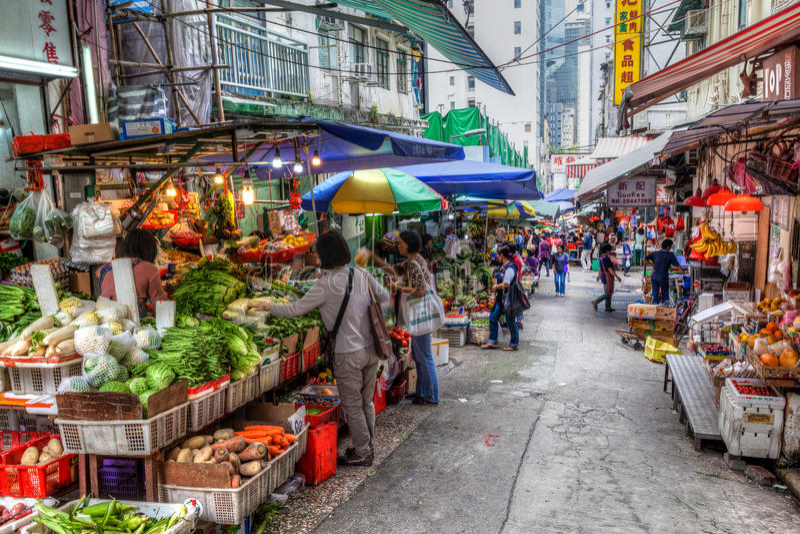 香港古迹:嘉咸街湿市场 免版税库存图片