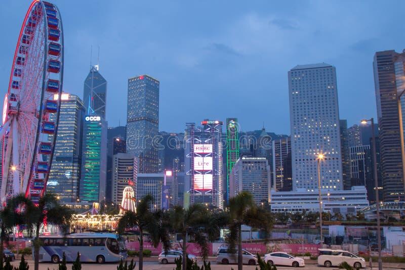 香港在友邦保险生命力公园,香港海岛的观察轮子 免版税库存照片
