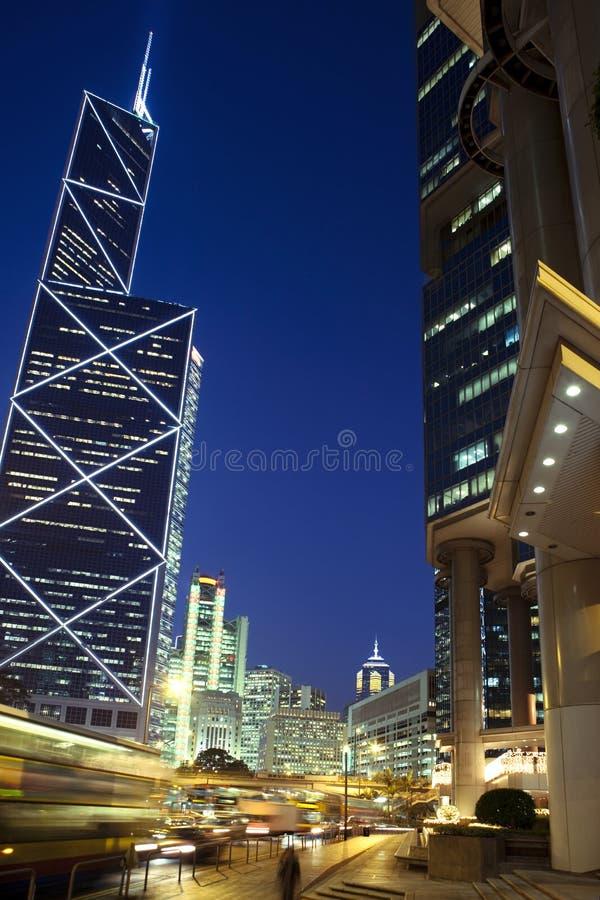 香港在晚上 库存图片