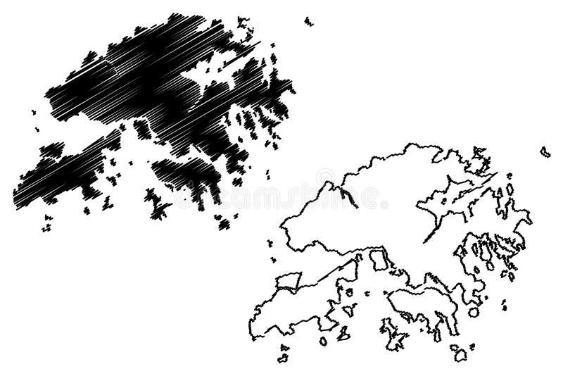 香港地图传染媒介 向量例证