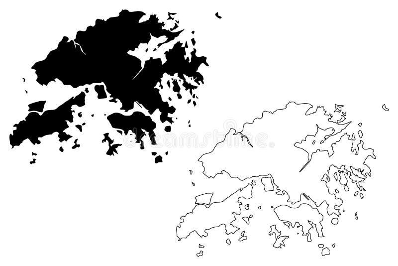 香港地图传染媒介 库存例证