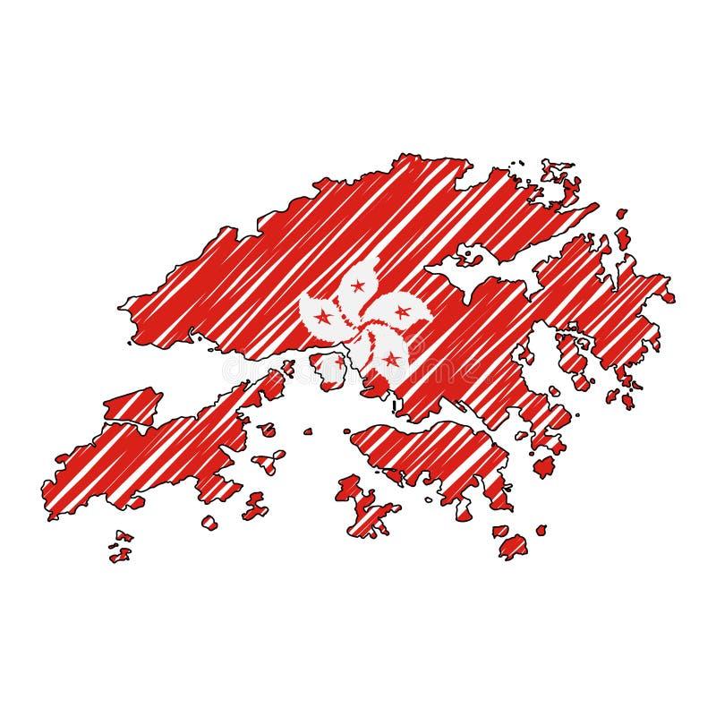 香港地图手拉的剪影 传染媒介概念例证旗子,儿童的图画,杂文地图 国家地图为 向量例证